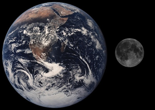 moon & earth