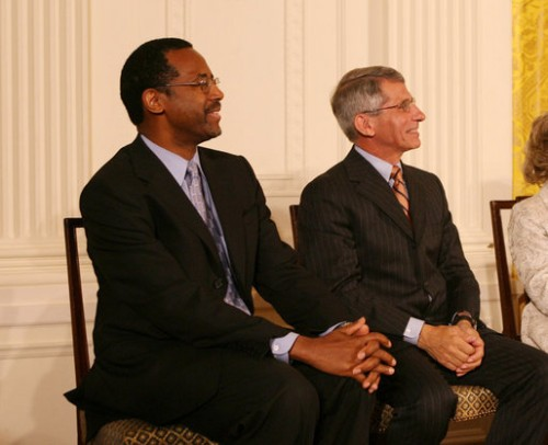 Dr. Ben Carson receiving the Presidential Medal of Freedom with Dr. Anthony Fauci