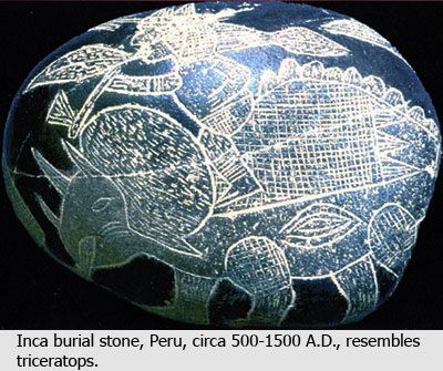 Ica stones supposedly from a pre-1500-A.D. Inca civilization
