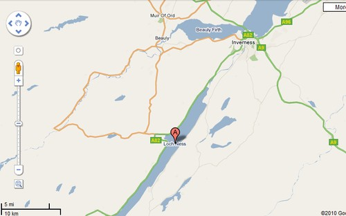 Google map of Loch Ness