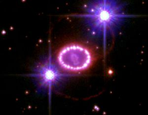 Unnamed supernova remnant flanked by brilliant stars