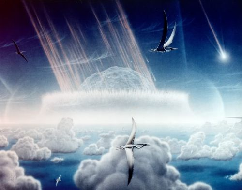 Artist impression of the Chicxulub impact that may have caused the dinosaur extinction