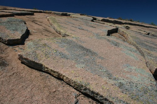 Geological exfoliation of granite at Enchanted Rock State Natural Area in Texas