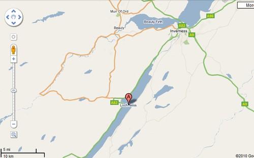 Google map of Loch Ness