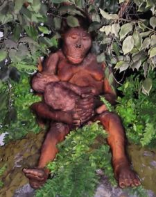 Reconstruction of Austrolopithecus afarensis with a child