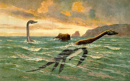 plesiosaur by Heinrich Harder, 1916, public domain