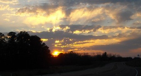 sunset in Selmer, Tennessee